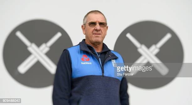 England head coach Trevor Bayliss pictured at England nets ahead of the 5th and final ODI against the New Zealand Black Caps at Hagley Oval on March...