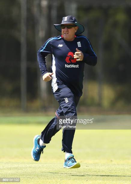 England Head Coach Trevor Bayliss runs during an England nets session at Richardson Park on November 2 2017 in Perth Australia