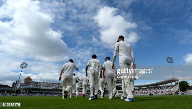 England head on to the field during day three of the 2nd Investec Test match between England and South Africa at Trent Bridge on July 16 2017 in...