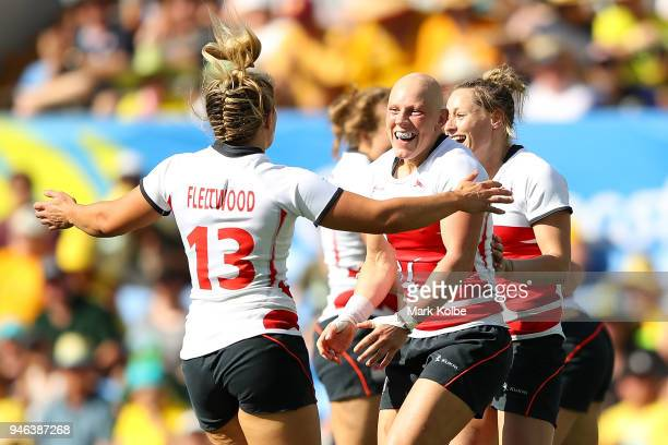 England Heather Fisher celebrates winning the Women's Bronze Medal Rugby Sevens Match between Canada and England on day 11 of the Gold Coast 2018...