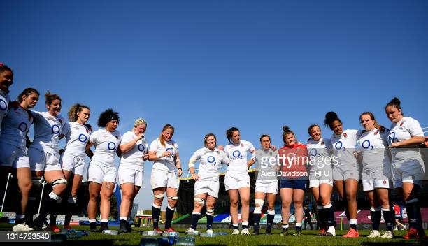 England Huddle after the Women's Six Nations match between England and France at The Stoop on April 24, 2021 in London, England. Sporting stadiums...
