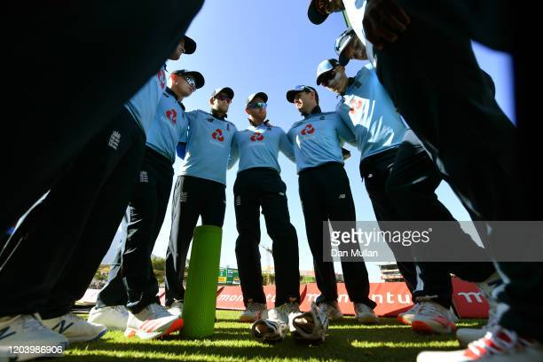 England huddle during the First One Day International match between South Africa and England at Newlands on February 04, 2020 in Cape Town, South...