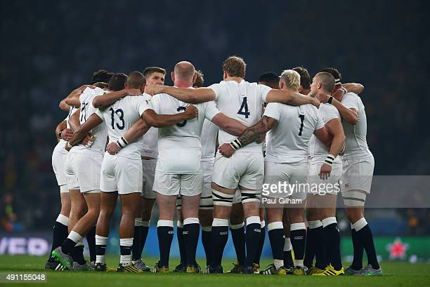 England huddle prior to the 2015 Rugby World Cup Pool A match between England and Australia at Twickenham Stadium on October 3 2015 in London United...