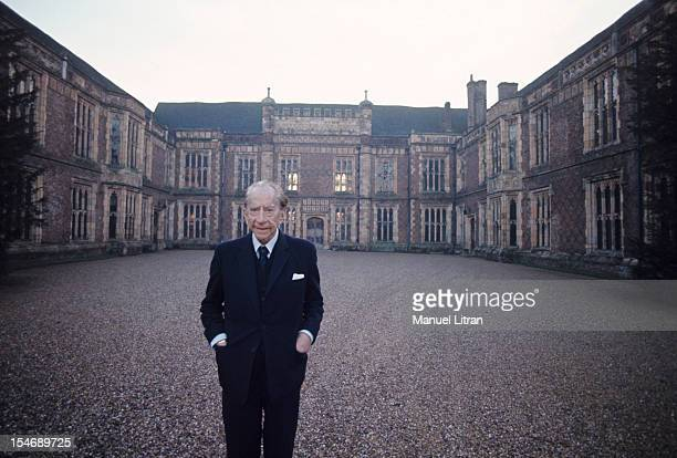 England in January 1973 billionaire J Paul Getty home his castle in the sixteenth century Sulton Palace 40 km from London Portrait smiling in the...