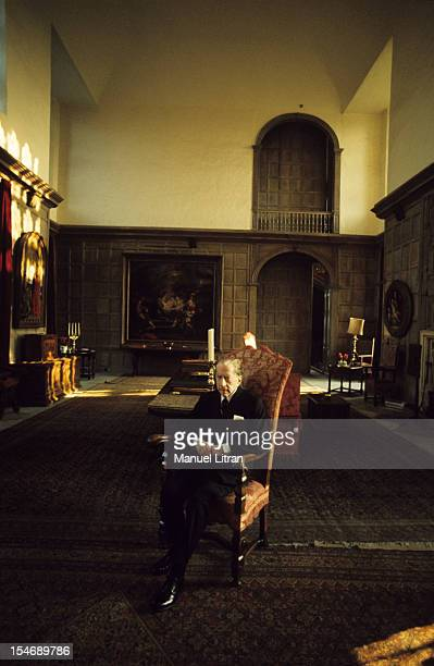 England in January 1973 billionaire J Paul Getty home sitting in an armchair in his castle of the sixteenth century Sulton Palace 40 km from London