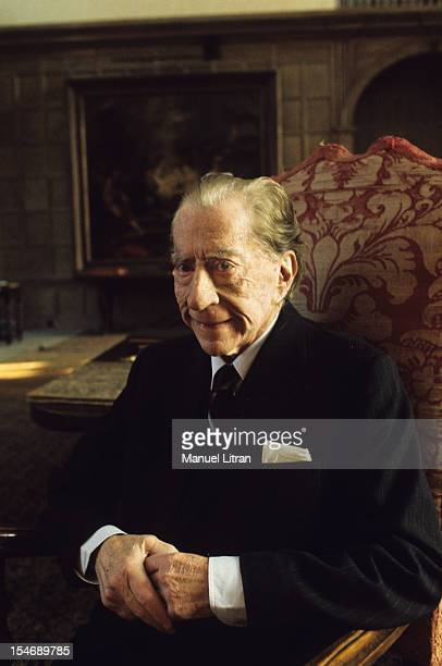 England in January 1973 billionaire Paul GETTY home sitting in an armchair in his castle of the sixteenth century Sulton Palace 40 km from London