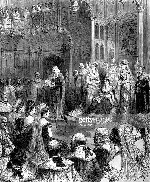 England In London opening of the Parliament by Queen Victoria in 'Le Monde illustre' from February 19 1876