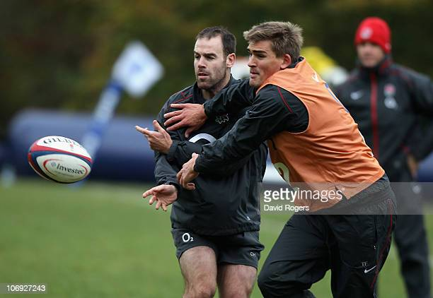 England Internationals Charlie Hodgson and Toby Flood challenge for the ball during the England Rugby Training Session ahead of their test match...