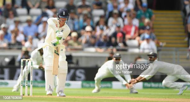 England is dropped at slip during day one of the First Specsavers Test Match between England and India at Edgbaston on August 1 2018 in Birmingham...