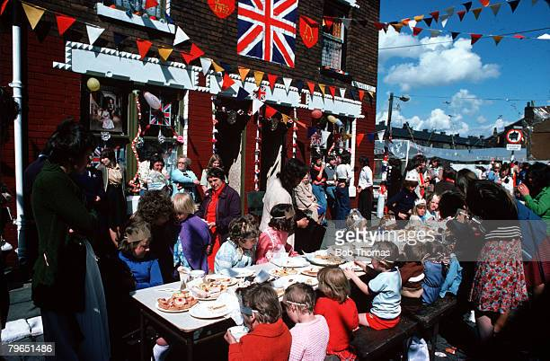 England June 1977 A street party is in progress to celebrate the Silver Jubilee of Queen Elizabeth II