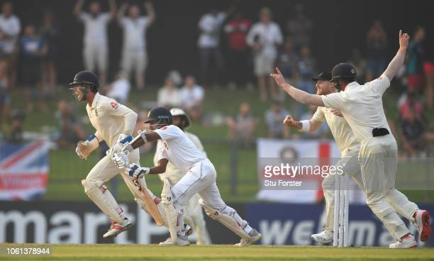 England keeper Ben Foakes and fielders celebrate after Sri Lanka batsman Kaushal Silva is bowled by Jack Leach during Day One of the Second Test...