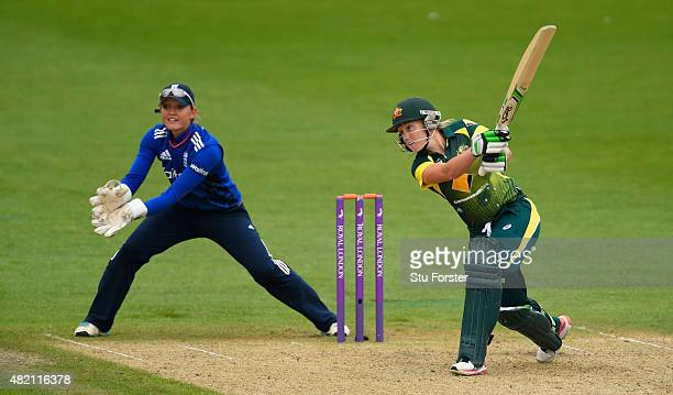 England keeper Sarah Taylor looks on as Australia batsman Alyssa Healy hits out during the 3rd Royal London ODI of the Women's Ashes Series between...