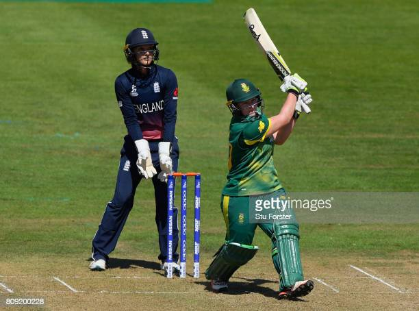 England keeper Sarah Taylor looks on as Lizelle Lee straight drives a six during the ICC Women's World Cup 2017 match between England and South...