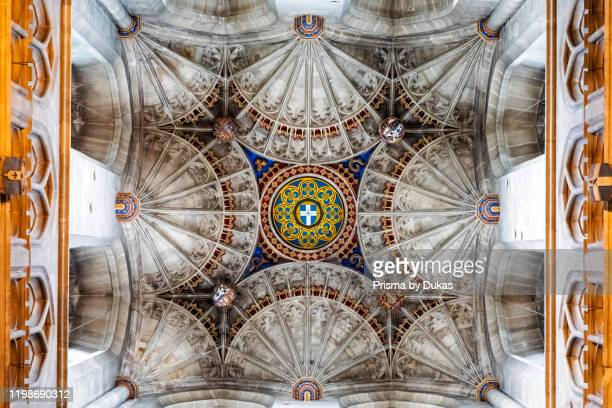 England, Kent, Canterbury, Canterbury Cathedral, Fan Vaulted Ceiling of Bell Harry Tower, 30064401.