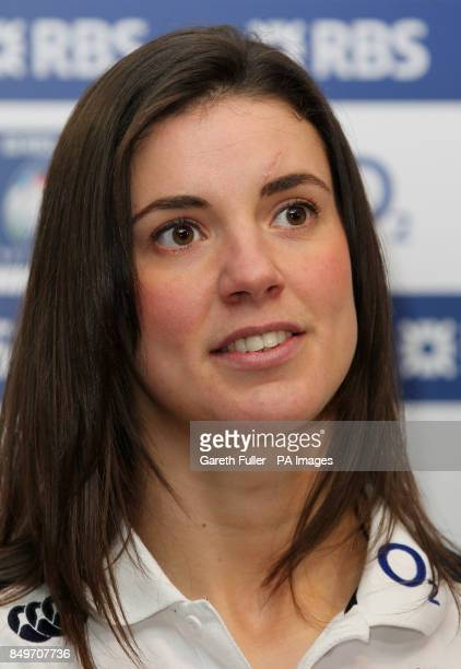 England ladies captain Sarah Hunter talks to reporters during a press conference at Twickenham Stadium, London.