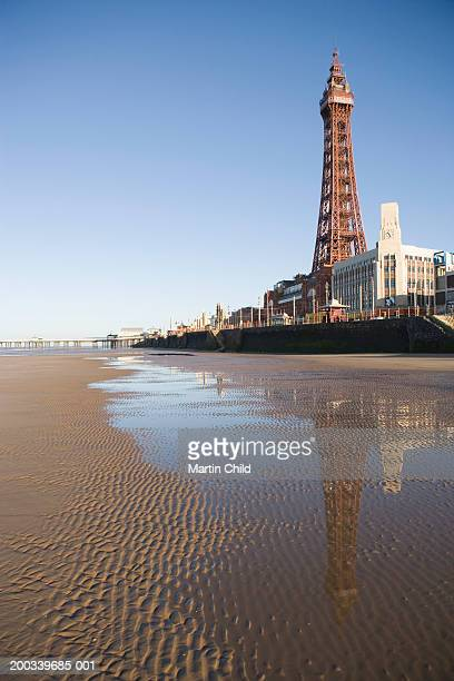 england, lancashire, blackpool, blackpool tower reflected in sand - blackpool tower stock pictures, royalty-free photos & images