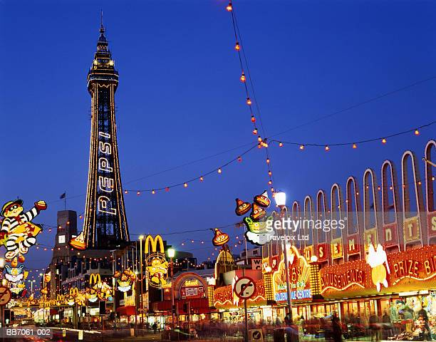 England, Lancashire, Blackpool, Tower and Illuminations at night