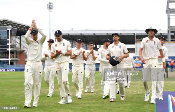 England leave the field after winning the 2nd NatWest Test match between England and Pakistan at Headingley on June 3 2018 in Leeds England