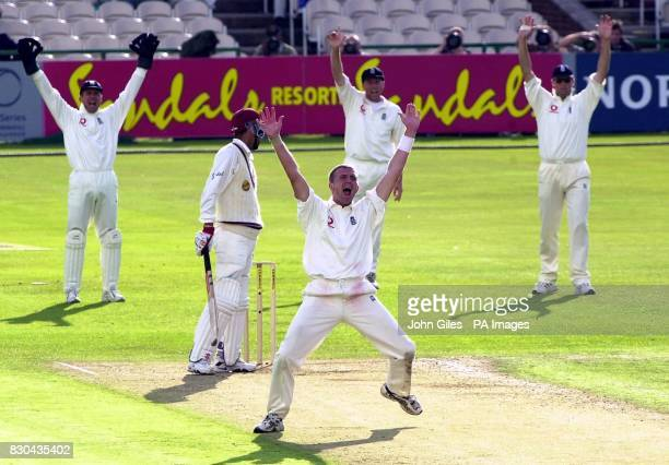 England led by bowler Dominic Cork who appeals unsuccesfully for the wicket of West Indies Captain Jimmy Adams during the Third Cornhill Test match...
