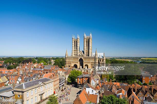 england, lincolnshire, lincoln, cathedral, elevated view - lincolnshire stock pictures, royalty-free photos & images