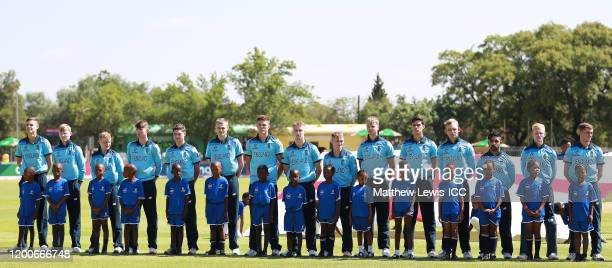 England line up against the West Indies during the ICC U19 Cricket World Cup Group B match between England and West Indies at De Beers Diamond Oval...
