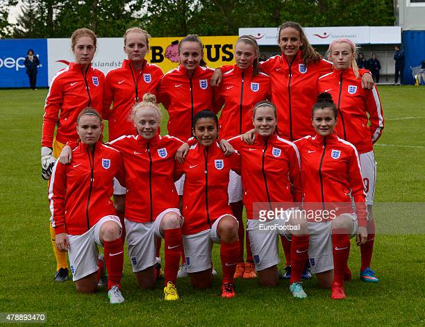 England line up ahead of the UEFA European Women's Under17 Championship match between U17 Germany and U17 England at Fylkisvollur on June 28 2015 in...