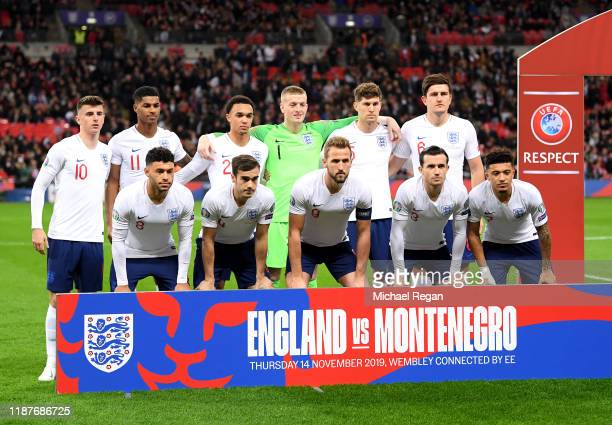 England line up during the UEFA Euro 2020 qualifier between England and Montenegro at Wembley Stadium on November 14, 2019 in London, England.
