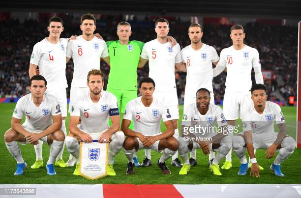 England line up during the UEFA Euro 2020 qualifier match between England and Kosovo at St. Mary's Stadium on September 10, 2019 in Southampton,...