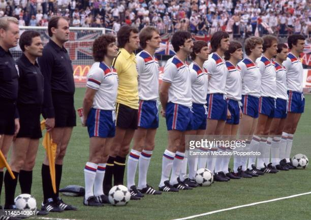 England line up for the anthems before the UEFA Euro 1980 Group 2 match between Belgium and England at the Stadio Comunale on June 12 1980 in Turin...