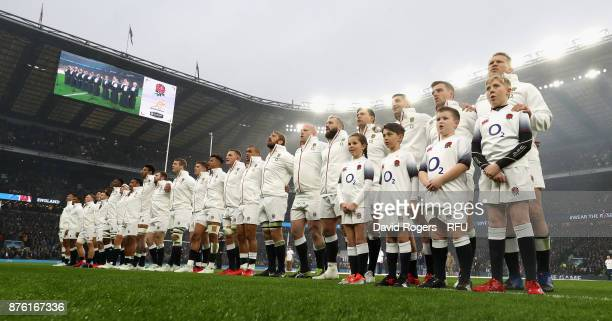 England line up for the anthems during the Old Mutual Wealth Series international match between England and Australia at Twickenham Stadium on...