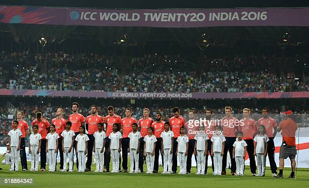 England line up for the national anthems ahead of the ICC World Twenty20 India 2016 Final between England and the West Indies at Eden Gardens on...