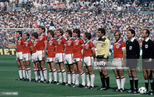 England line up for the national anthems before the 1982 FIFA World Cup Group 4 match between England and France at the San Mames Stadium on June 16...