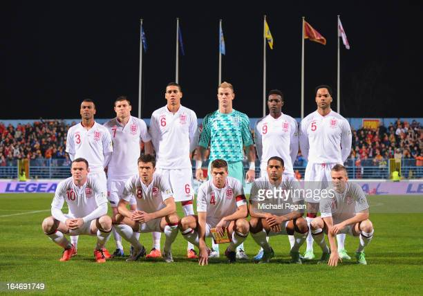 England line up prior to the FIFA 2014 World Cup Qualifier Group H match between Montenegro and England at City Stadium on March 26 2013 in Podgorica...