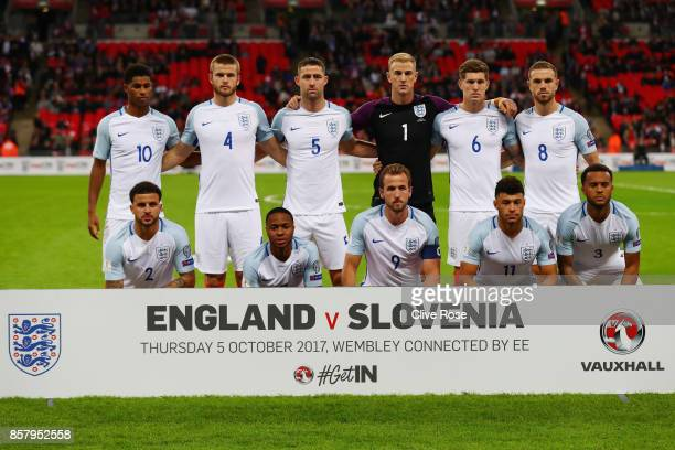 England line up prior to the FIFA 2018 World Cup Group F Qualifier between England and Slovenia at Wembley Stadium on October 5 2017 in London England