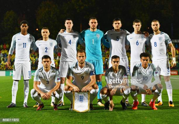 England line up prior to the FIFA 2018 World Cup Group F Qualifier between Lithuania and England at LFF Stadium on October 8 2017 in Vilnius Lithuania