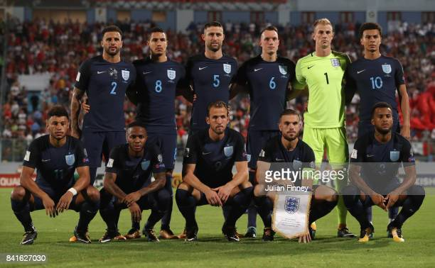 England line up prior to the FIFA 2018 World Cup Qualifier between Malta and England at Ta'Qali National Stadium on September 1 2017 in Valletta Malta