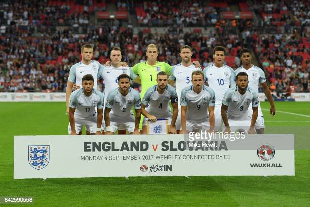 England line up prior to the FIFA 2018 World Cup Qualifier between England and Slovakia at Wembley Stadium on September 4 2017 in London England