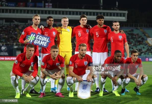 England line up prior to the UEFA Euro 2020 qualifier between Bulgaria and England on October 14 2019 in Sofia Bulgaria