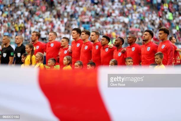 England lines up during the 2018 FIFA World Cup Russia Quarter Final match between Sweden and England at Samara Arena on July 7 2018 in Samara Russia