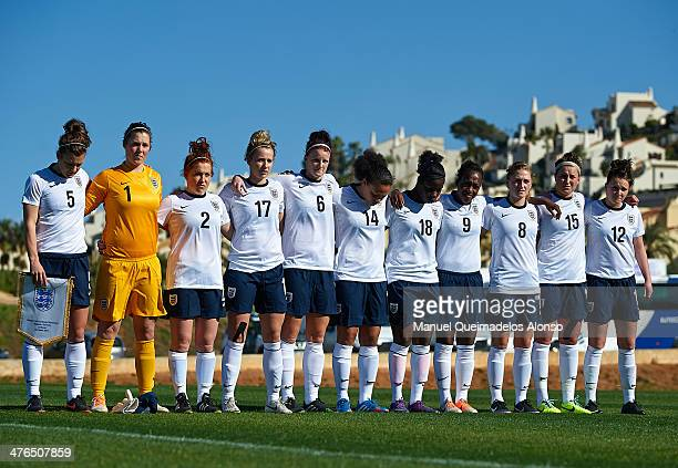 England lineup prior to the U23 friendly match between England and Germany at la Manga Club on March 3 2014 in La Manga Spain