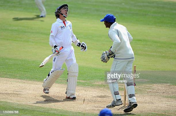England Lions captain James Taylor reacts after being bowled by Sachithra Serasinghe of Sri Lanka A for 98 runs during day four of the tour match...