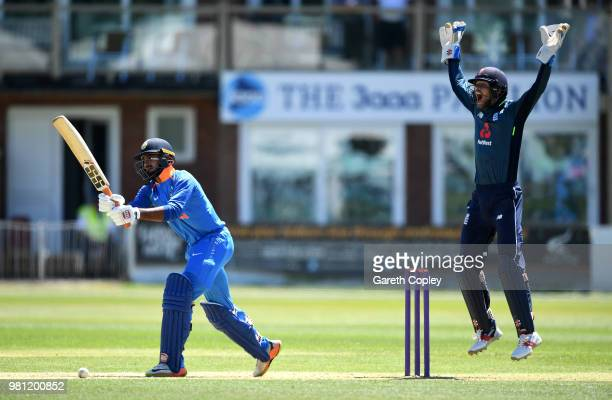 England Lions wicketkeeper Ben Foakes appeals for the wicket of Vijay Shankar of India A during the TriSeries International match between England...