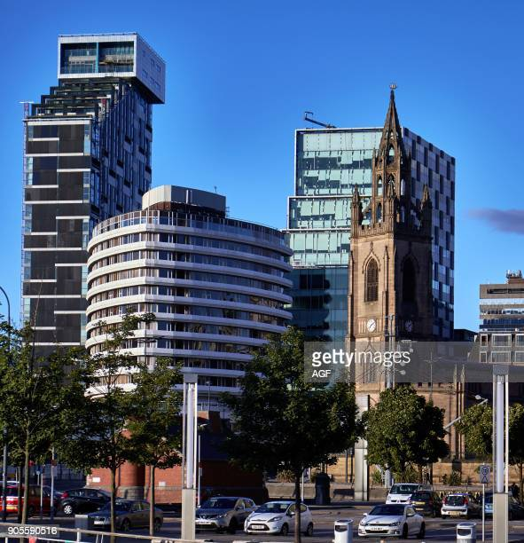 England Liverpool Cityscape with St Nicholas church the 20 Chapel building and the Mercure Liverpool Atlantic Tower on the image The building known...