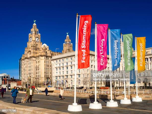 England, Liverpool, Pier Head, Royal Liver and Cunard buildings