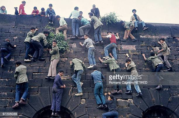 England Liverpool west indian youths climbing the wall surrounding the Anglican cemetery near the Cathedral Training centre for Young Panthers
