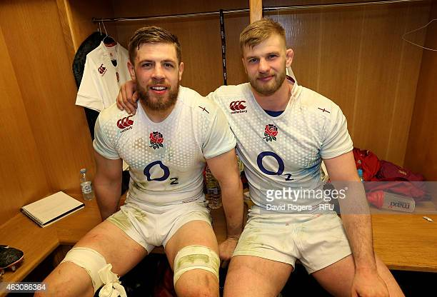 England locks Dave Attwood and George Kruis celebrate following their team's 2116 victory during the RBS Six Nations match between Wales and England...