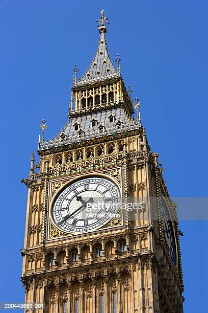 England, London, Big Ben, clock face, low angle view