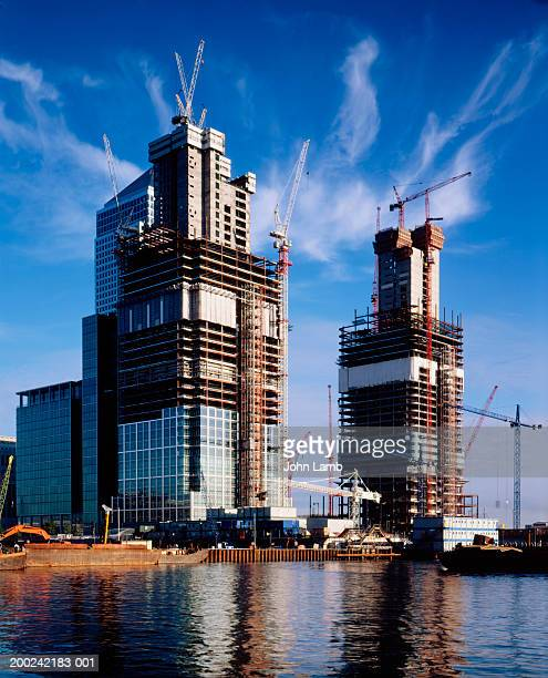 England, London, Canary Wharf, high rise buildings under construction