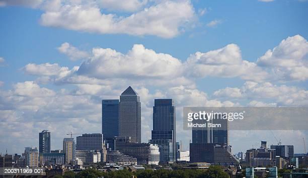 England, London, Canary Wharf skyline