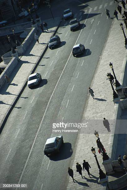 england, london, cars and people on street, elevated view - henry street stock pictures, royalty-free photos & images